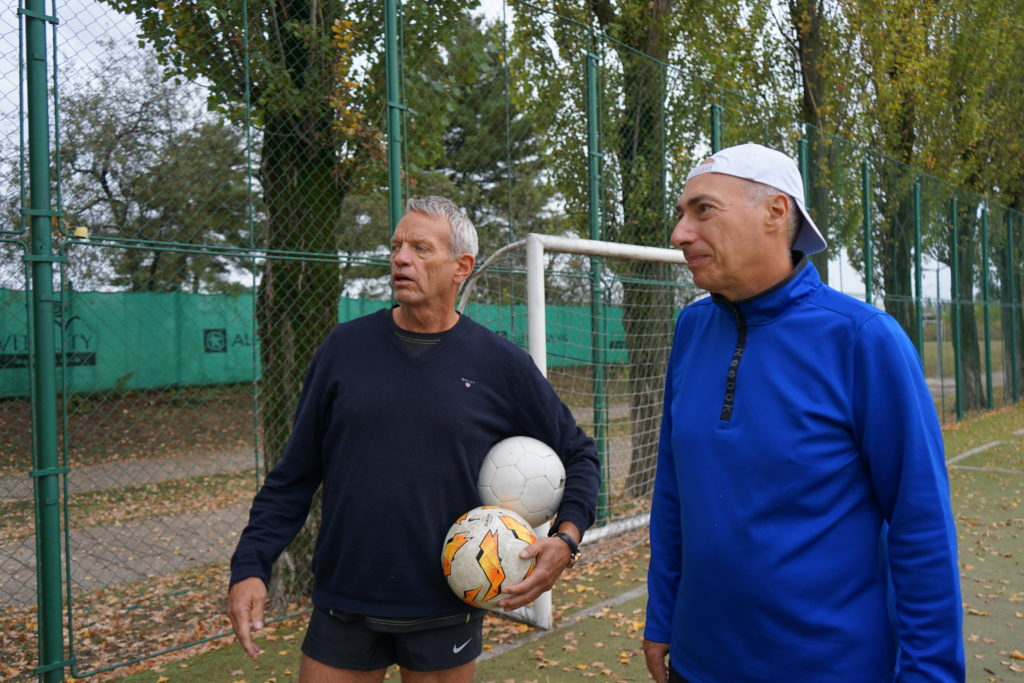 Left to right: Svein Olaf Olsen and Paul de Sousa. Soccer tournament.