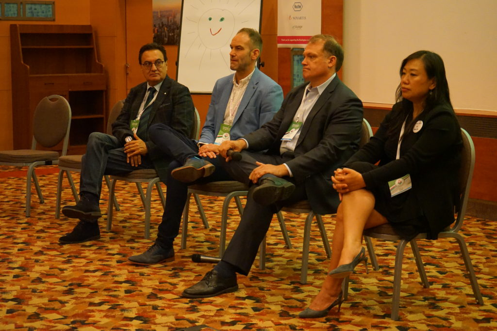 Left to right: Baltazar Gomez (Novartis), Melvin Evers (uniQure), Scott Schobel (Roche Pharmaceuticals) and Serena Hung (Wave Life Sciences)